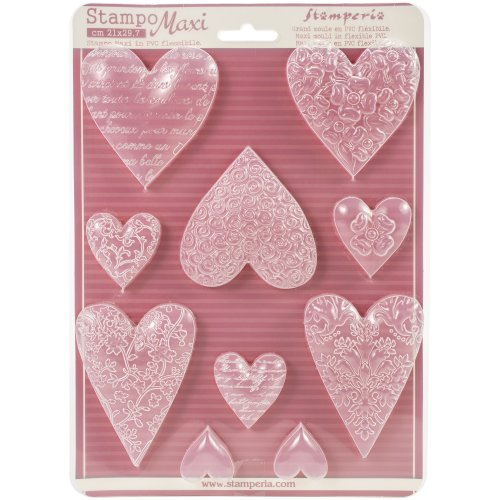 """Stamperia Soft Maxi Mould 8.5""""X11.5""""-Textured Hearts"""