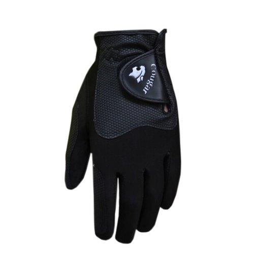 Non-slip Men's High Grade Magic Golf Gloves Synthetic Leather BLACK Left Hand L