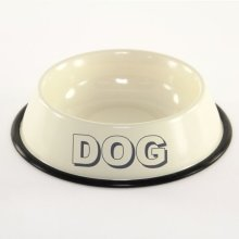 Cream Dog Bowl