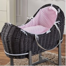 Pink Dimple Grey Wicker Moses Basket Pod