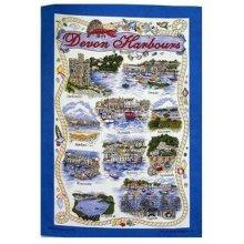 Devon Harbours Tea Towel Souvenir Gift Dartmouth Ilfracomb Brixham Paignton Torquay Bideford Nautical