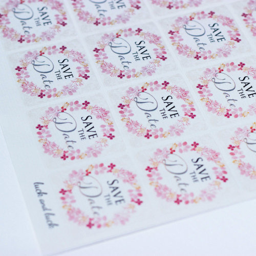 Save the Date Pink Floral Wreath Single Sticker Sheet with 35 Stickers