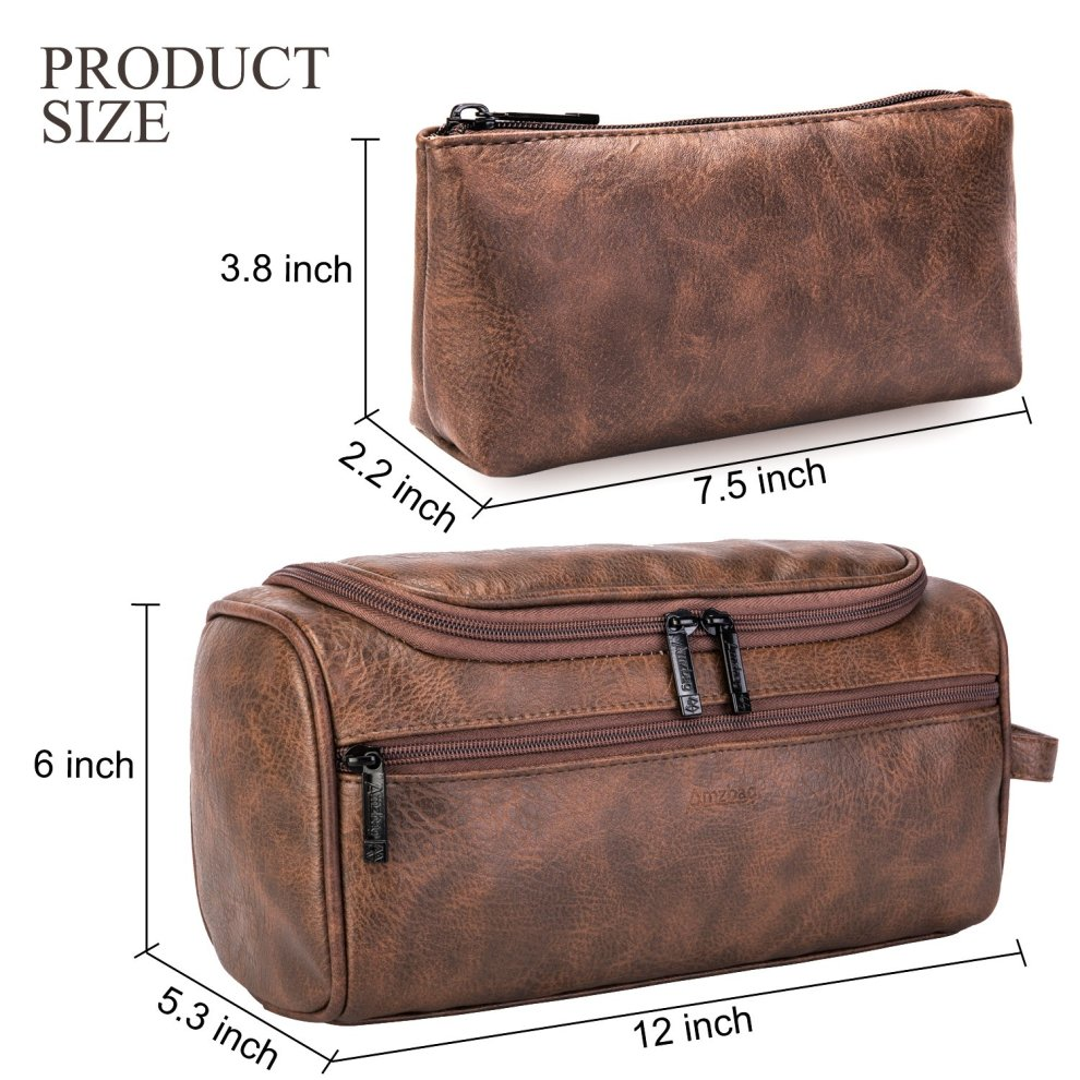 2d013710b384 ... CoolBELL Leather Toiletry Bag Travel Toiletry Organizer Portable  Hanging Makeup Bag Dopp Kit   Shaving Cosmetic ...