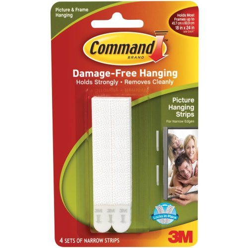 Command Narrow Picture Hanging Strips-White 4 Sets/Pkg