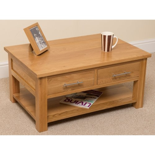 Oslo Solid Oak Coffee Table with 2 Drawers