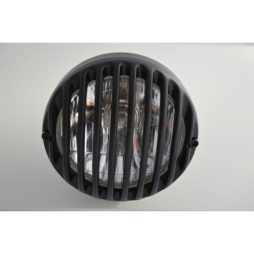 "6.5"" Black Alloy Grille Retro Motorcycle Headlight for Project Custom Bobber"