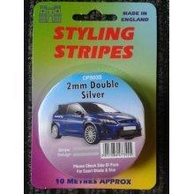 2mm Double Stripe Silver - 10m Length Castle Styling Promotions Pin Cps03s -  stripe 2mm double silver 10m length castle styling promotions pin cps03s