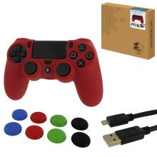 ZedLabz protect & play kit for PS4 inc silicone cover, thumb grips & 3m charging cable - red