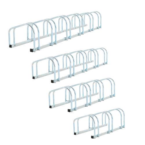 HOMCOM 4-Bike Floor Parking Stand – Silver