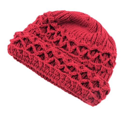 Womens Winter Autumn Comfortable Beanie Hat Warm Knitted Cap, Red