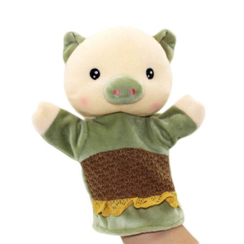 Lovely Kid's Glove Puppet Hand Dolls, Green Pig