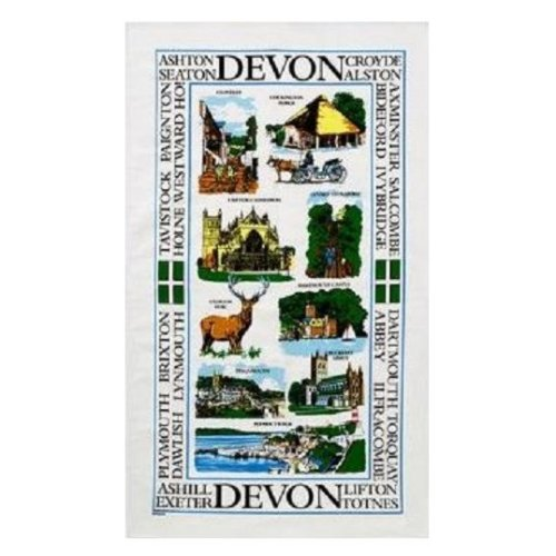 Sights of Devon Tea Towel Souvenir Gift Exeter Cathedral Buckfast Abbey Dawlish