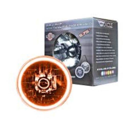 Oracle Lighting Technologies ORA6904-005 5.75 in. OD Halo LED Ring Requires H4 Bulb Sealed Beam Headlight, Amber - Glass & Plastic
