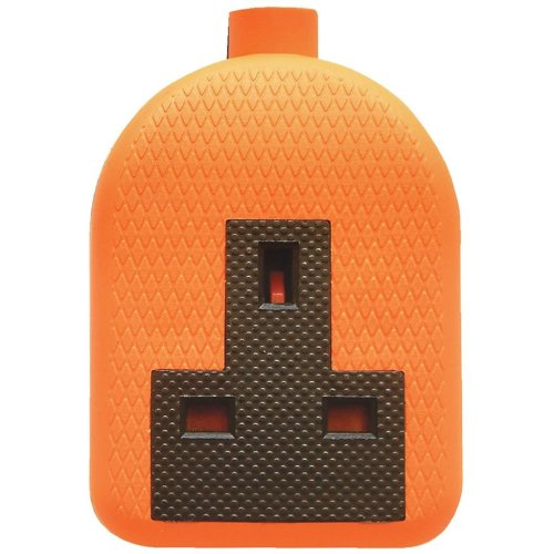 Single Gang Impact Resistant Extension Socket Orange