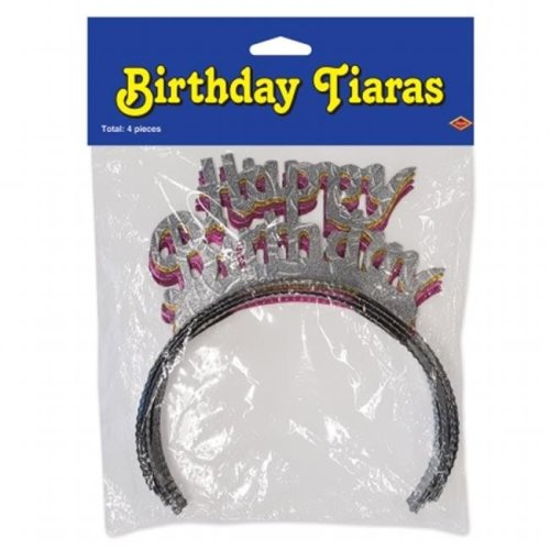 Beistle Company 66885 Pkgd Happy Birthday Tiaras - Assorted Colors