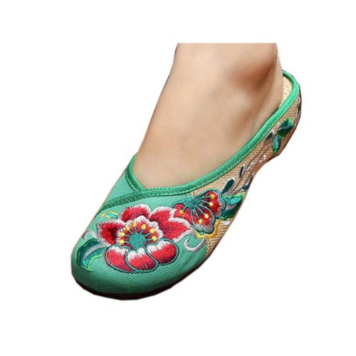 Womens Embroidered Summer Slippers Wedges Sandals Shoes for Cheongsam, #12