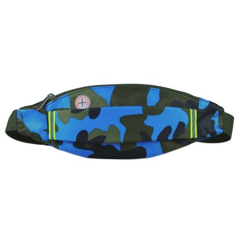Outdoor Sports And Leisure Large Capacity Fashion Waist Bags, Camouflage Blue