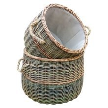 Set of 2 Lined Rustic Willow Country Log Baskets