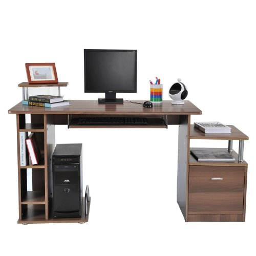 Homcom Computer Desk With Storage Drawer & Shelves