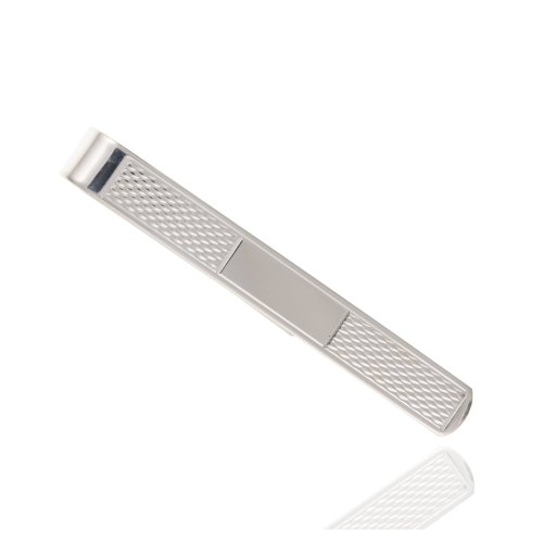 925 Sterling Silver Engine Turned Cartouche Tie Clip - 7mm.
