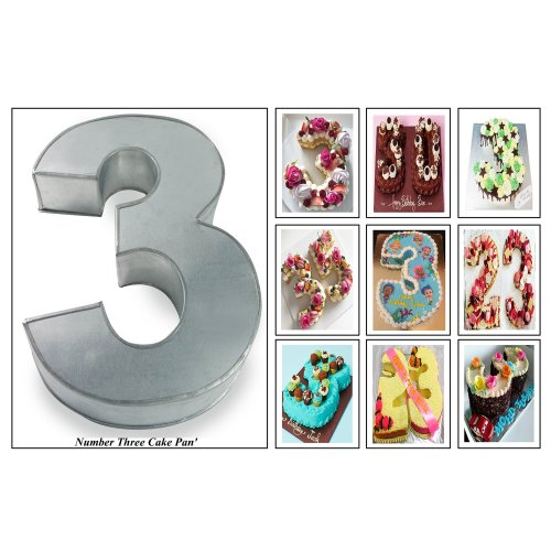 Large Number Three Birthday Wedding Anniversary Cake Tin - Cake Pan