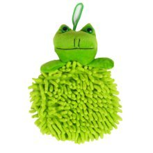 Chenille Fiber Hand Towel Clean Absorbent Cloth Hang Rope Cartoon Towel, Green