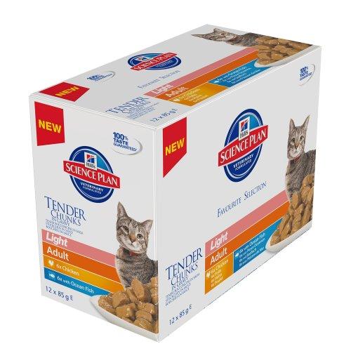 Hill's Science Plan - Cat Feline Pouches - Wet Food - Adult Light - Favourite Selection (24 Pouches)