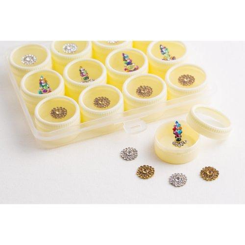 12 Bindi Boxes Mix Silver/Gold/ Multicolored Crystal Bindis Bridal face Jewels Indian Forehead Tika