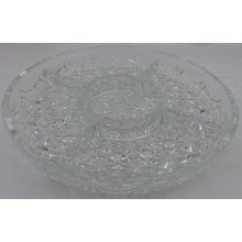 Vintage Cut Glass Serving Dish - Nuts, Nibbles, Snacks,sweets or dips 5 Sections