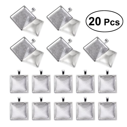 BESTOMZ 20 Sets Square Bezel Pendant Trays with Glass Dome Tiles Cabochon 25mm Blank Cameo Bezel Cabochon Settings for DIY Jewelry Making