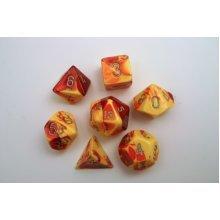 Chessex Gemini Polydice Set - Red-Yellow w/silver