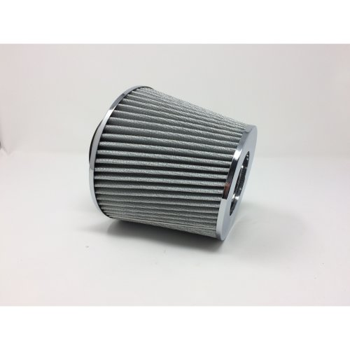 "Performance High Flow Cone Air Filter (76mm) 3"" Inch Neck Diameter SILVER/CHROME"