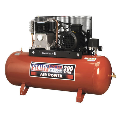Sealey SAC42055B 200ltr Belt Drive Compressor 5.5hp 3ph 2-Stage with Cast Cylinders