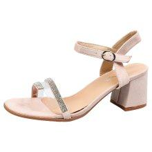 Sidney Womens Mid Block Heels Peep Toe Diamante Sandals