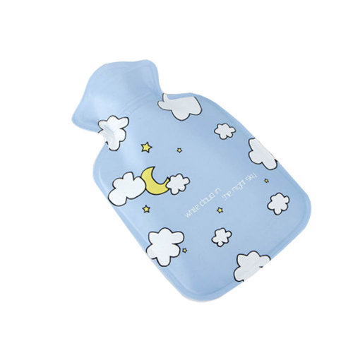 Warm Classic Small 0.1 L Hot Water Bottle cute cartoon Safe Water-filled, Blue (Sky)