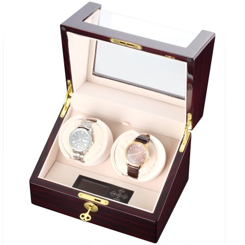 CHIYODA Double Watch Winder with Quiet Mabuchi Motor, LCD Digital Display [100% Handmade]