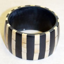 STRIPE - Large 5cm Wide Wood Striped Bracelet / Bangle