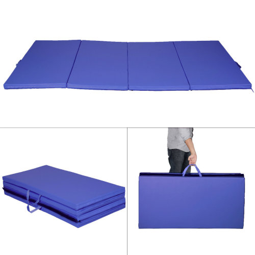 8FT Folding Gymnastics Tumble Floor Mat Fitness Blue