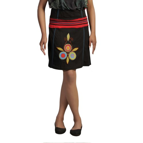 Ladies Cotton Mini Skirt With an Elasticated Waistband and Colorful Flower Embroidery