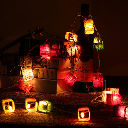 20LED Multi Color Chinese Paper Lantern Fairy String Lights Party Wedding Bar Cafe Home Patio Decor