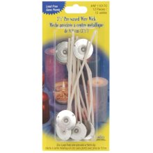 "Pre-Waxed Wire Wicks W/Clips 3.5"" 12/Pkg-"