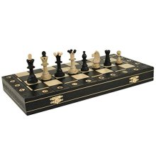 BLACK CONSUL HANDCRAFTED TOURNAMENT WOODEN CHESS Board 19 x 19- Chessmen Weighted by Wegiel