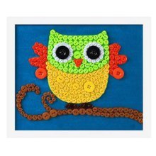 Nice Owl DIY Button Painting Mosaic Craft for Kids