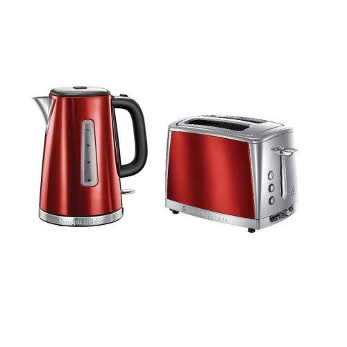 Russell Hobbs LUNA Red 1.7L 3kW Jug Kettle & Luna 2 Slice Toaster SET