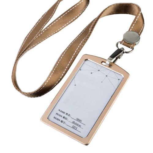 Aluminum Alloy Vertical Style ID Card Badge Holder with Neck Lanyard Strap 3PCS, 08