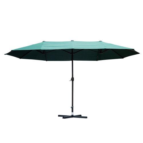 Outsunny 4.6m Sun Umbrella Canopy Double-sided Crank Sun Shade Parasol (Green)