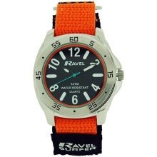 Ravel Gents-Teen Surfer Black Dial With Black/Orange Velcro Strap Watch R5-11.8G