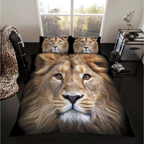 Lion 3D print cotton blend duvet cover bedding set