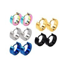 Pair Of Stainless Steel Plain Small Hinged Snap Close Huggy Hooped Earrings 8mm Length 0.8mm Thickness