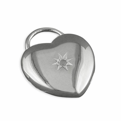 Childrens Sterling Silver Heart With Centred Star Set Diamond Locket On A Curb Necklace